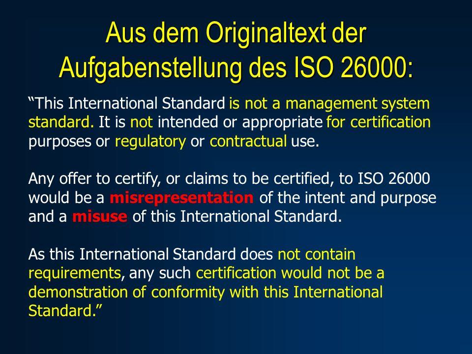Aus dem Originaltext der Aufgabenstellung des ISO 26000: