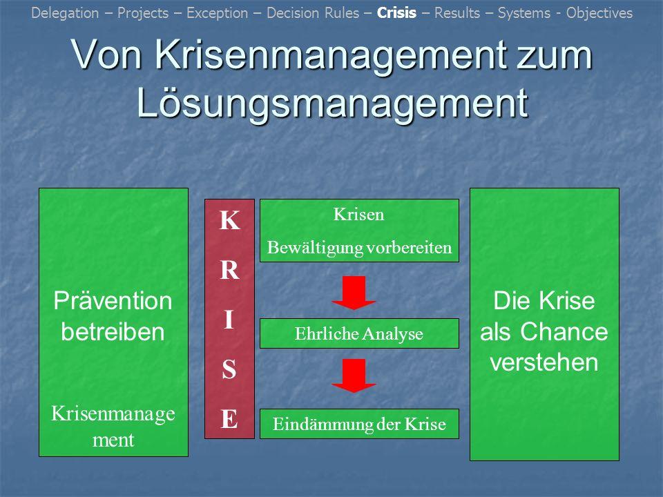 Von Krisenmanagement zum Lösungsmanagement