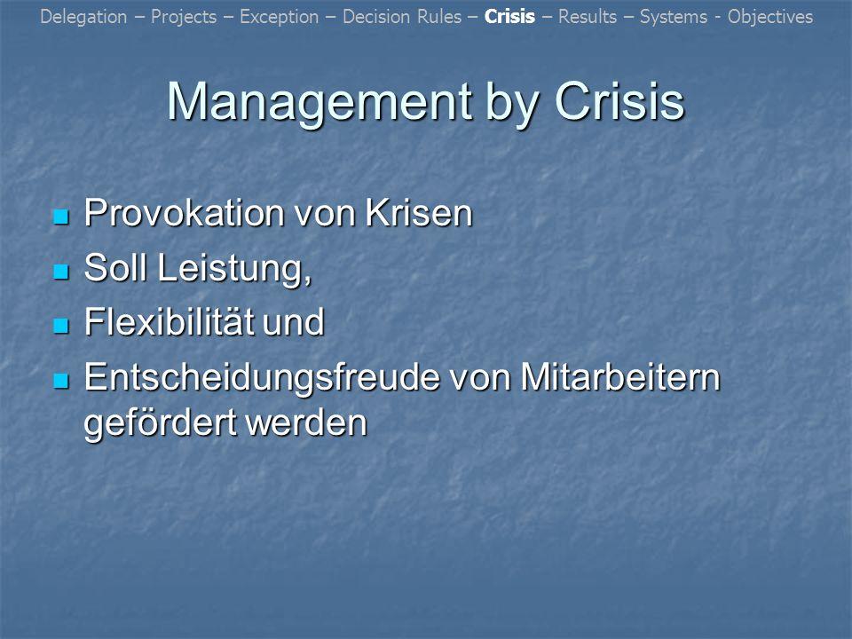 Management by Crisis Provokation von Krisen Soll Leistung,