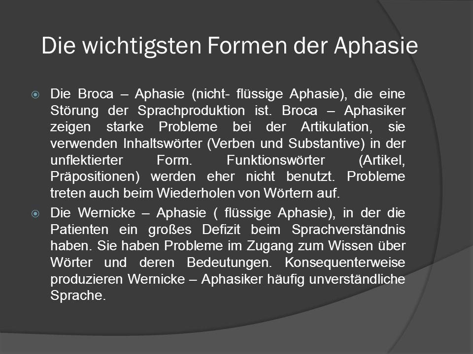 Die wichtigsten Formen der Aphasie