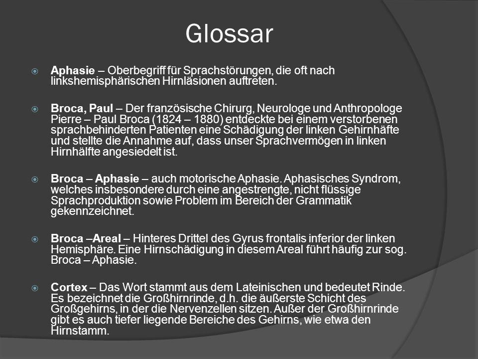 Glossar Aphasie – Oberbegriff für Sprachstörungen, die oft nach linkshemisphärischen Hirnläsionen auftreten.