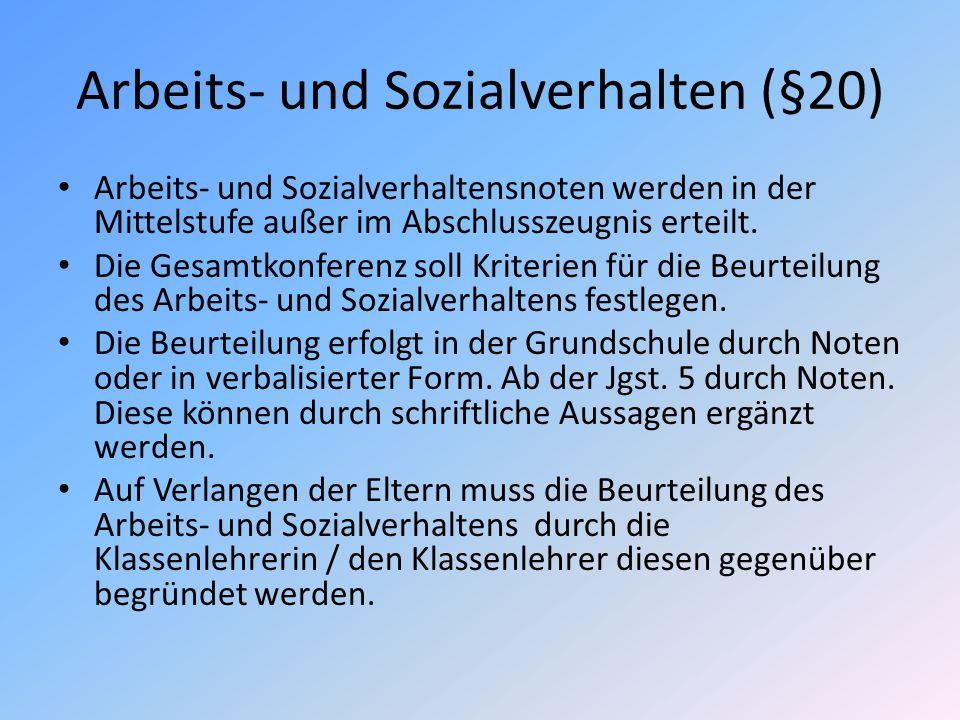Arbeits- und Sozialverhalten (§20)