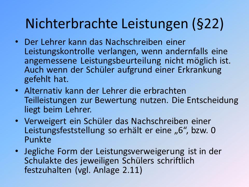 Nichterbrachte Leistungen (§22)