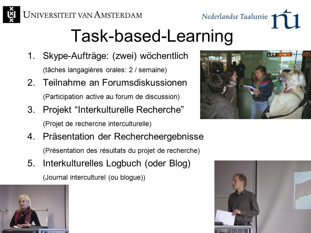 Task-based-Learning 1. Skype-Aufträge: (zwei) wöchentlich