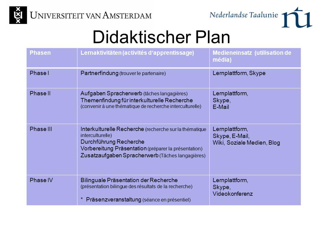 Didaktischer Plan Phasen Lernaktivitäten (activités d'apprentissage)