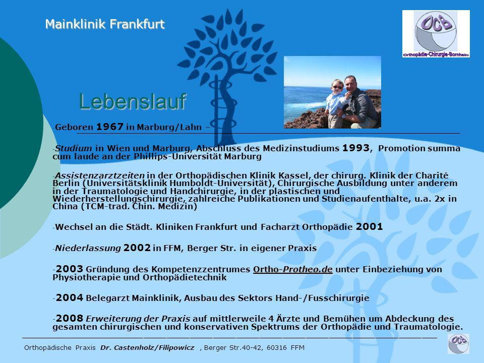 Lebenslauf Mainklinik Frankfurt