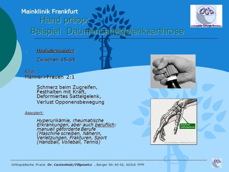 Hand präop: Beispiel Daumensattelgelenksarthrose