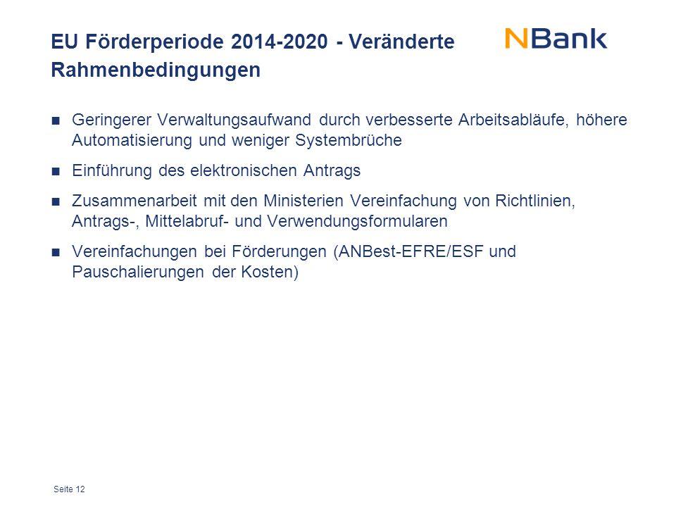 EU Förderperiode 2014-2020 - Veränderte Rahmenbedingungen