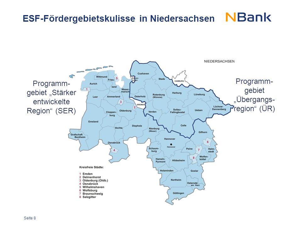 ESF-Fördergebietskulisse in Niedersachsen