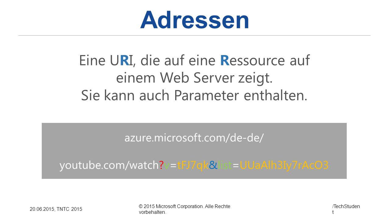 Adressen Eine URI, die auf eine Ressource auf einem Web Server zeigt.