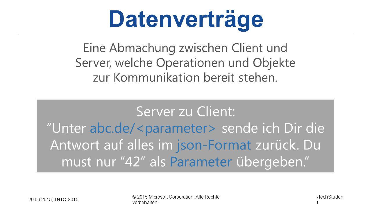 Datenverträge Server zu Client:
