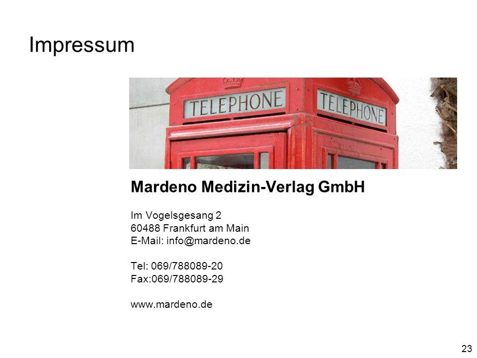 Impressum Mardeno Medizin-Verlag GmbH Im Vogelsgesang 2