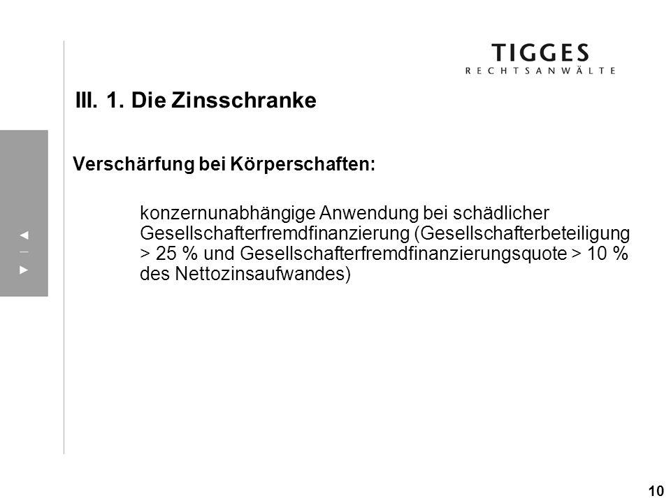 III. 1. Die Zinsschranke Verschärfung bei Körperschaften: