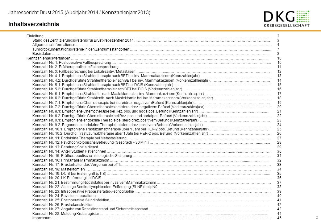 Jahresbericht Brust 2015 (Auditjahr 2014 / Kennzahlenjahr 2013)