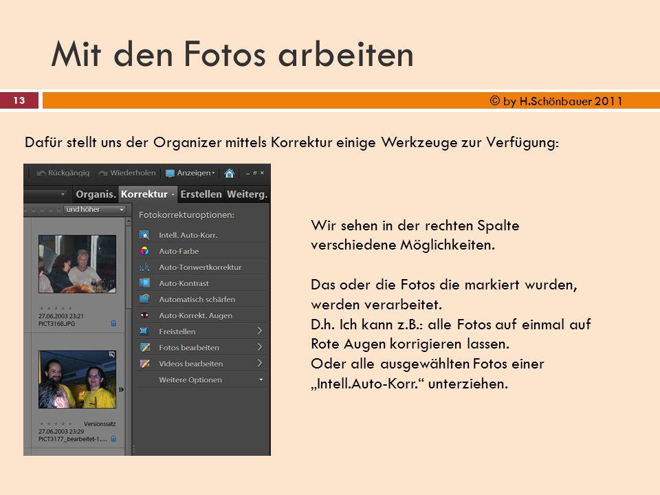 Mit den Fotos arbeiten © by H.Schönbauer 2011. Dafür stellt uns der Organizer mittels Korrektur einige Werkzeuge zur Verfügung: