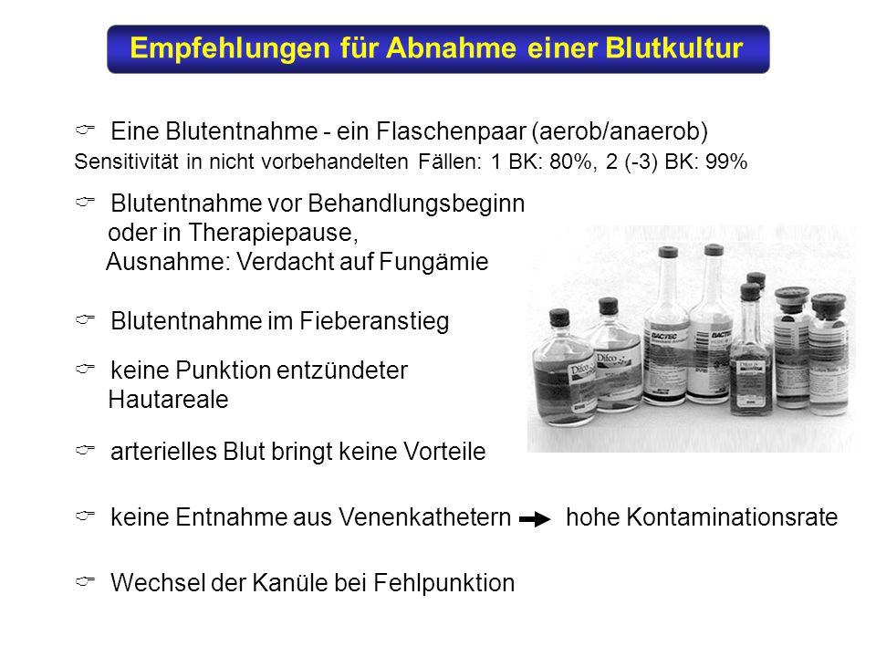 Empfehlungen für Abnahme einer Blutkultur