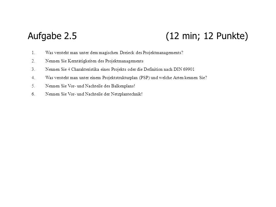 Aufgabe 2.5 (12 min; 12 Punkte) Was versteht man unter dem magischen Dreieck des Projektmanagements