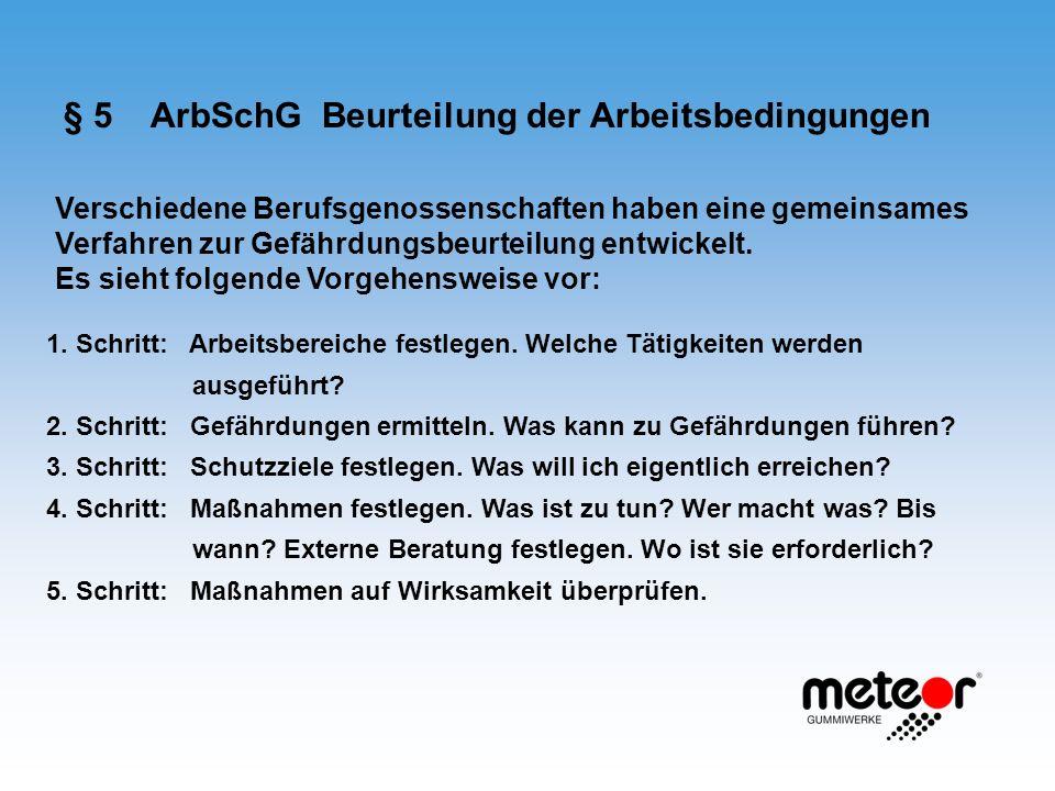 § 5 ArbSchG Beurteilung der Arbeitsbedingungen