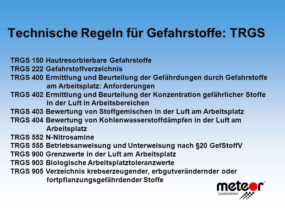 Technische Regeln für Gefahrstoffe: TRGS