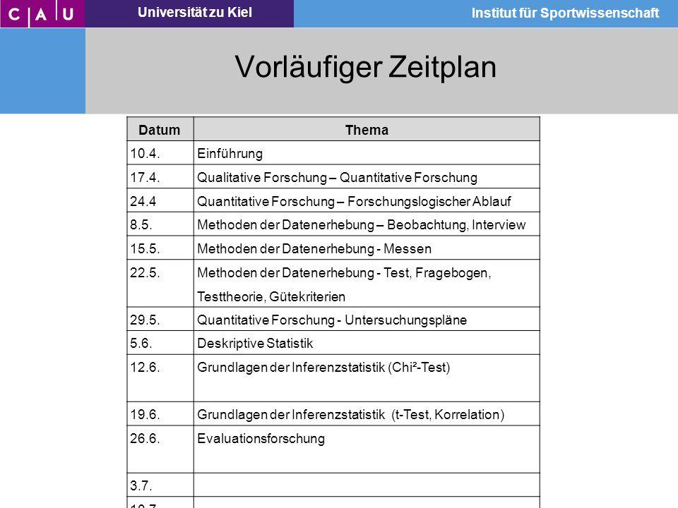 Vorläufiger Zeitplan Datum Thema 10.4. Einführung 17.4.