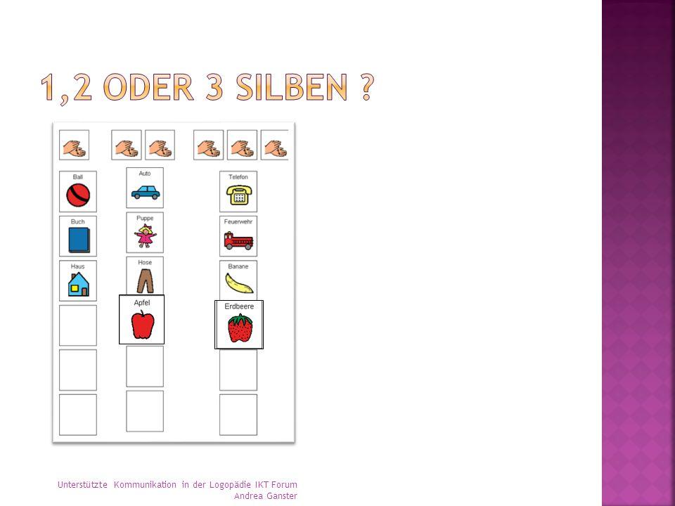 1,2 oder 3 Silben Unterstützte Kommunikation in der Logopädie IKT Forum Andrea Ganster