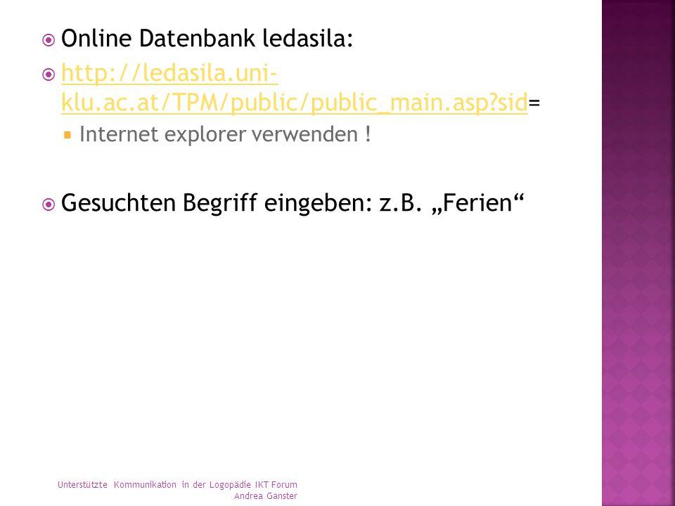 Online Datenbank ledasila:
