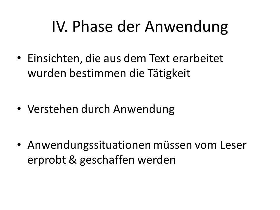 IV. Phase der Anwendung Einsichten, die aus dem Text erarbeitet wurden bestimmen die Tätigkeit. Verstehen durch Anwendung.