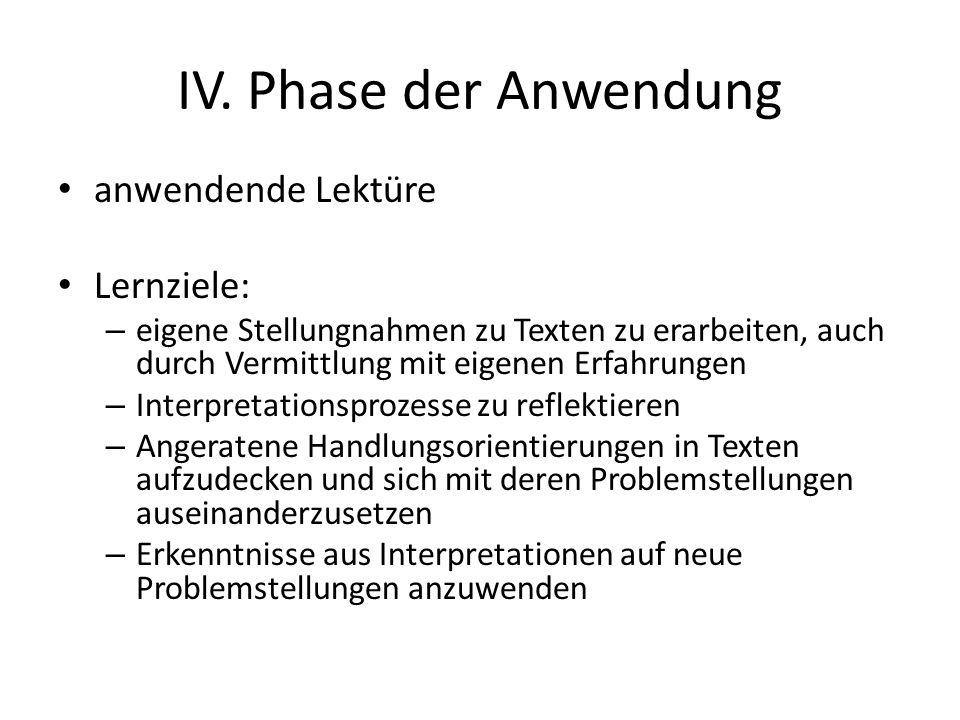 IV. Phase der Anwendung anwendende Lektüre Lernziele: