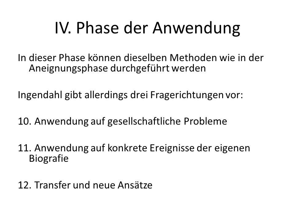 IV. Phase der Anwendung