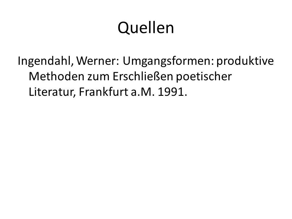 Quellen Ingendahl, Werner: Umgangsformen: produktive Methoden zum Erschließen poetischer Literatur, Frankfurt a.M.