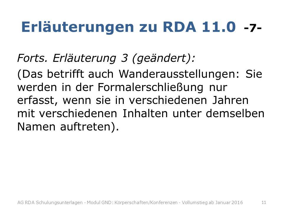 Erläuterungen zu RDA 11.0 -7-