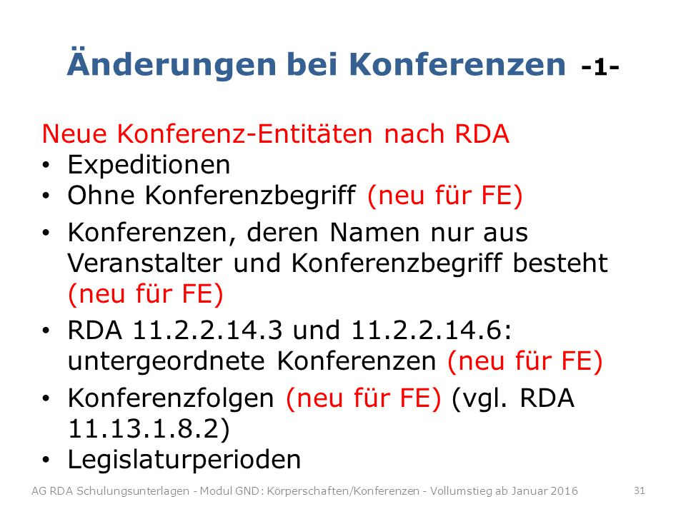 Änderungen bei Konferenzen -1-