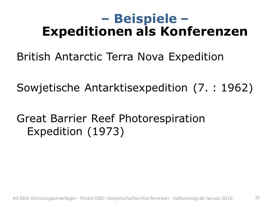 – Beispiele – Expeditionen als Konferenzen
