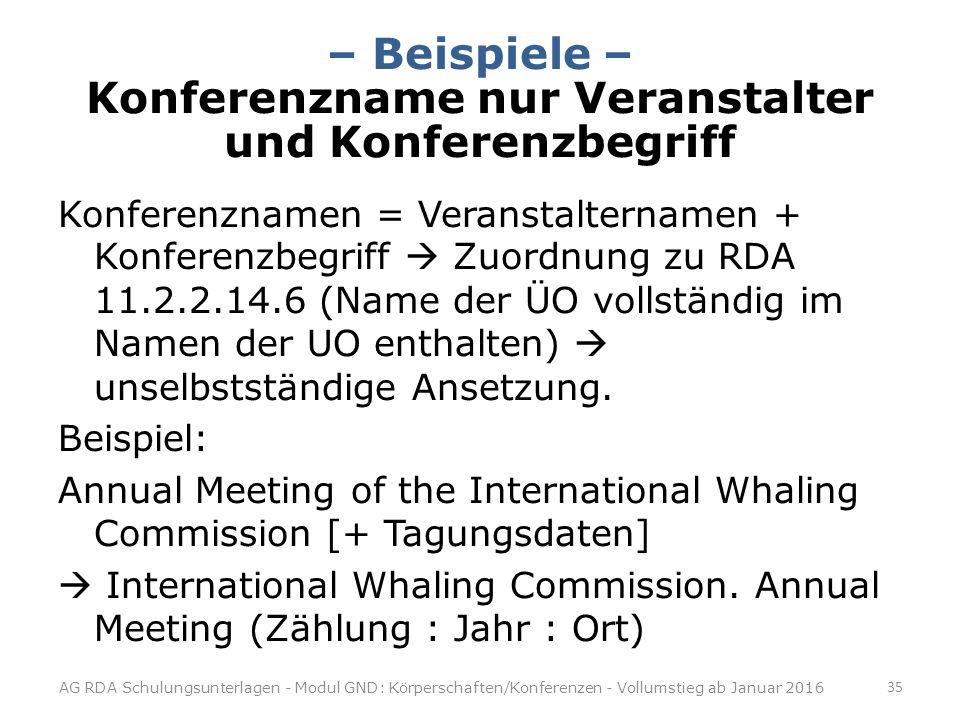 – Beispiele – Konferenzname nur Veranstalter und Konferenzbegriff