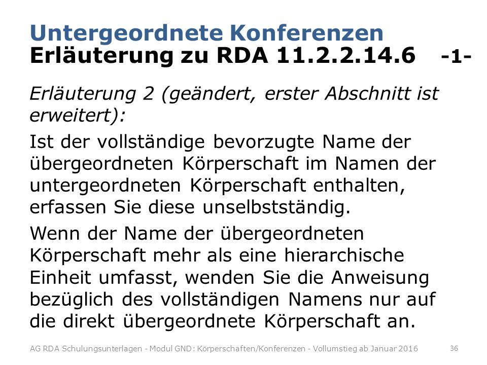 Untergeordnete Konferenzen Erläuterung zu RDA 11.2.2.14.6 -1-