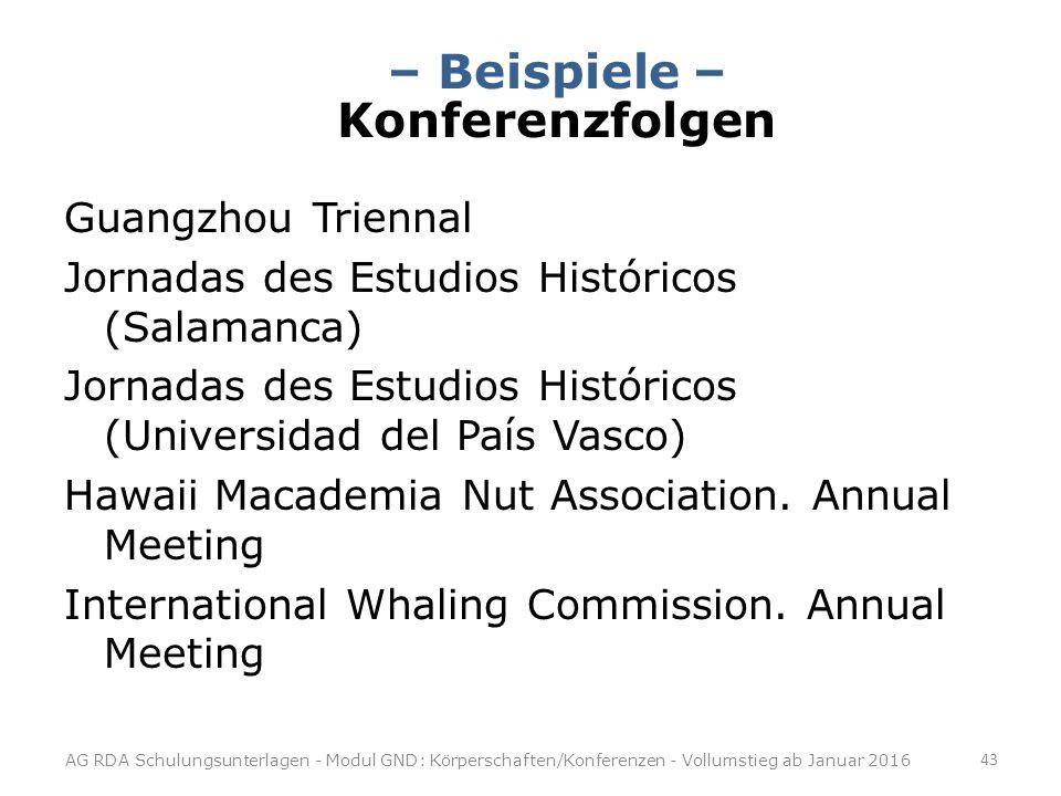 – Beispiele – Konferenzfolgen