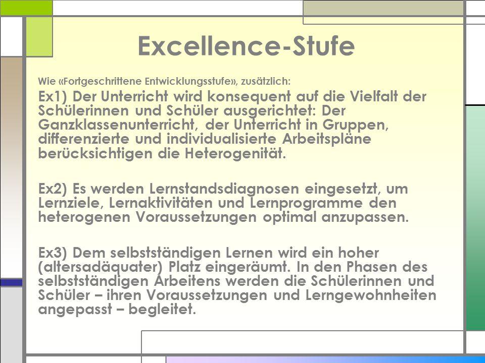 Excellence-Stufe Wie «Fortgeschrittene Entwicklungsstufe», zusätzlich: