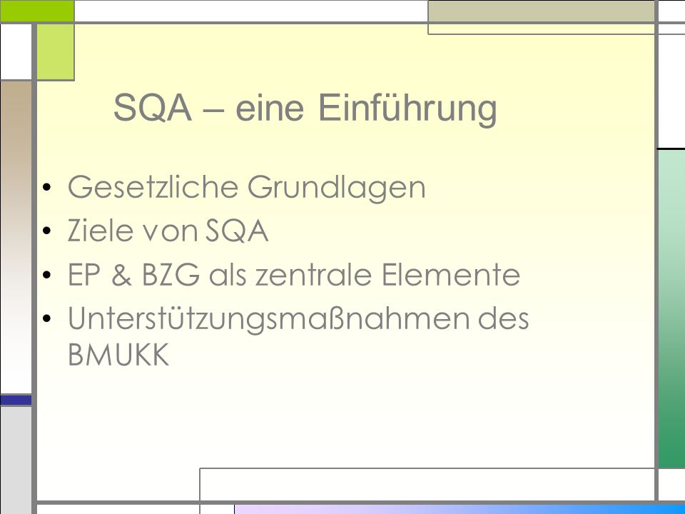 SQA – eine Einführung Gesetzliche Grundlagen Ziele von SQA