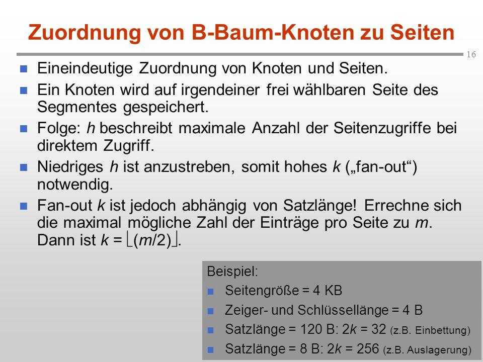 Zuordnung von B-Baum-Knoten zu Seiten