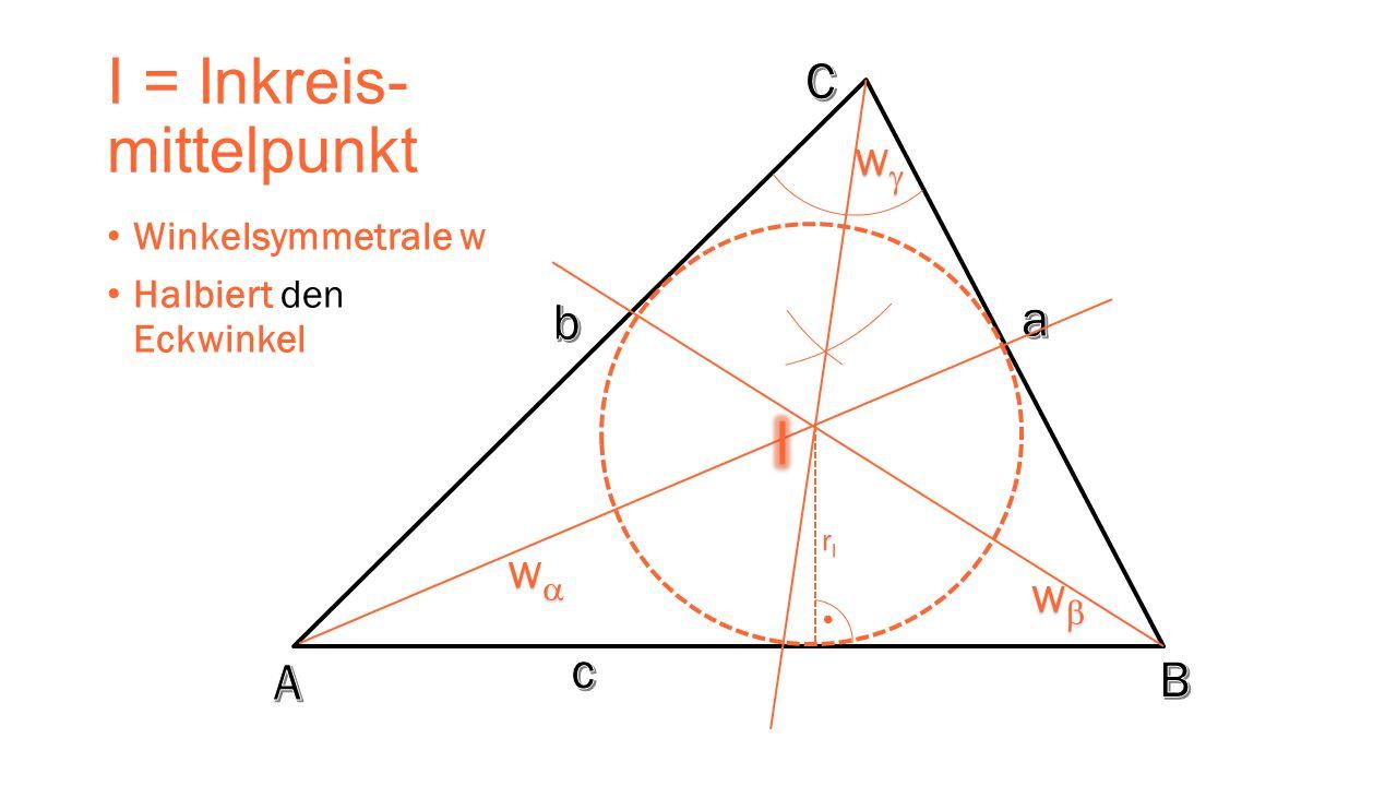 I = Inkreis- mittelpunkt