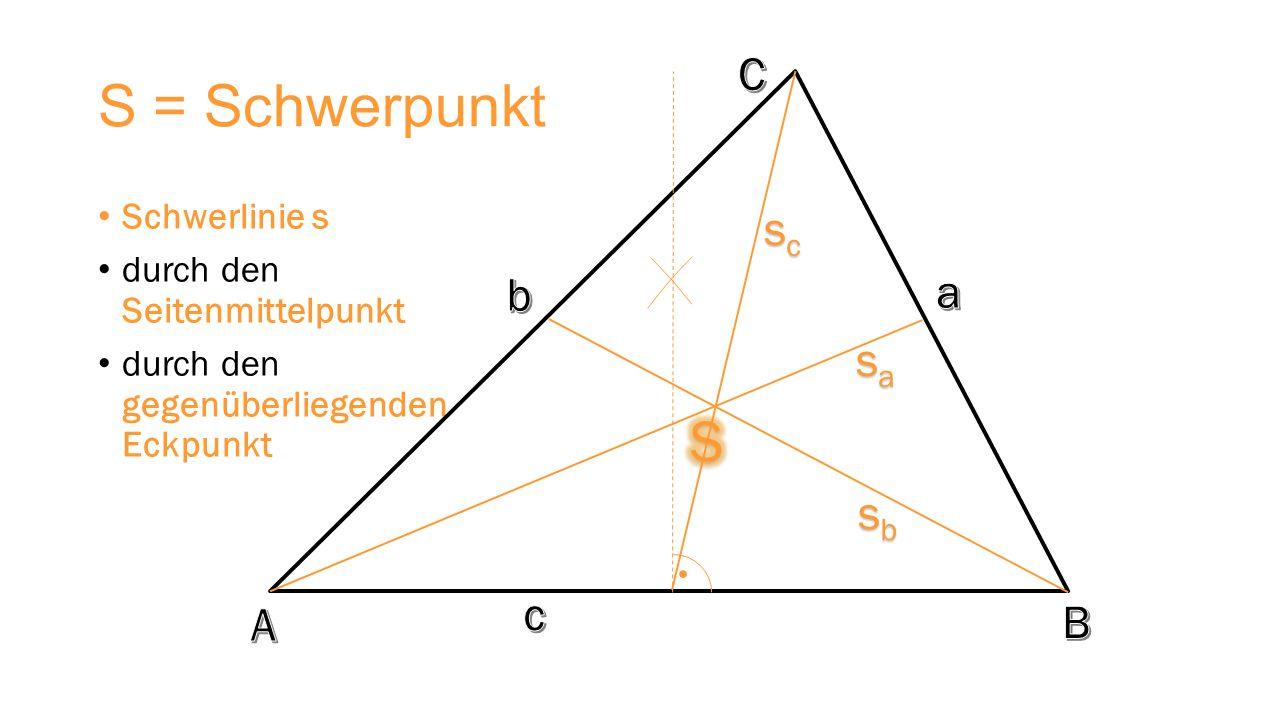 S = Schwerpunkt S C sc b a sa sb c A B Schwerlinie s
