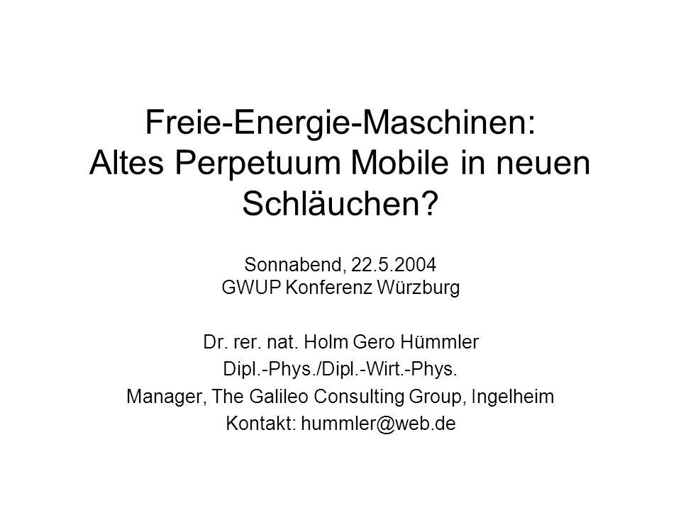 Freie-Energie-Maschinen: Altes Perpetuum Mobile in neuen Schläuchen