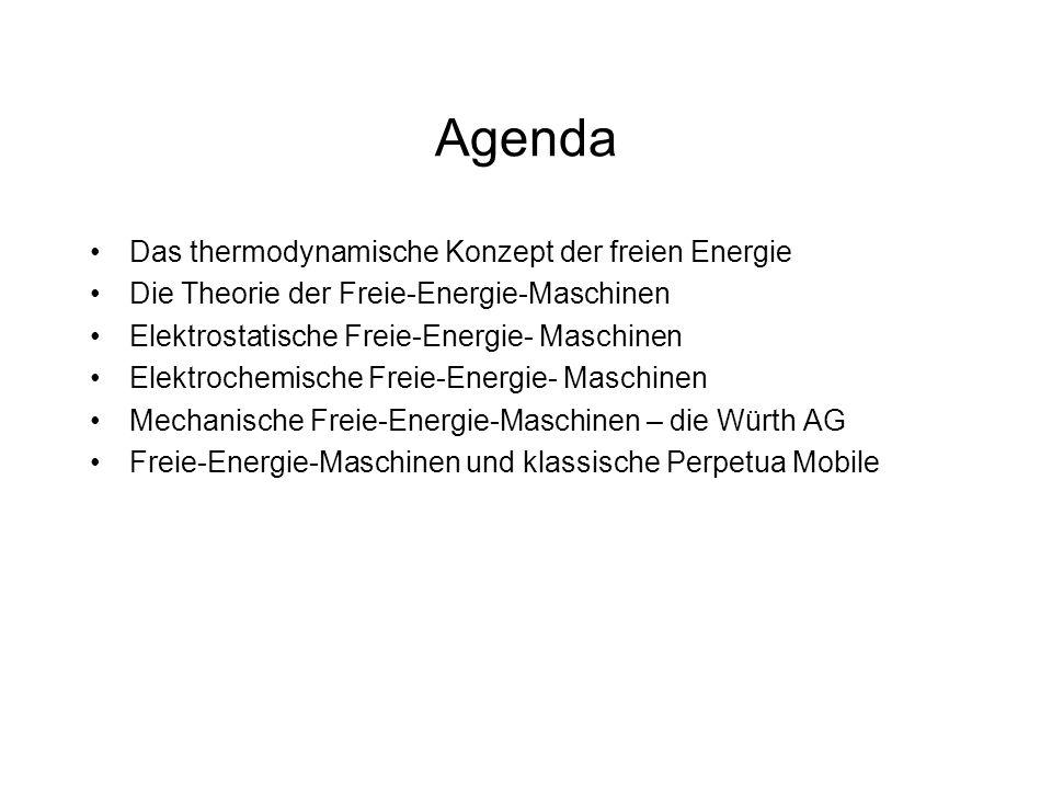 Agenda Das thermodynamische Konzept der freien Energie