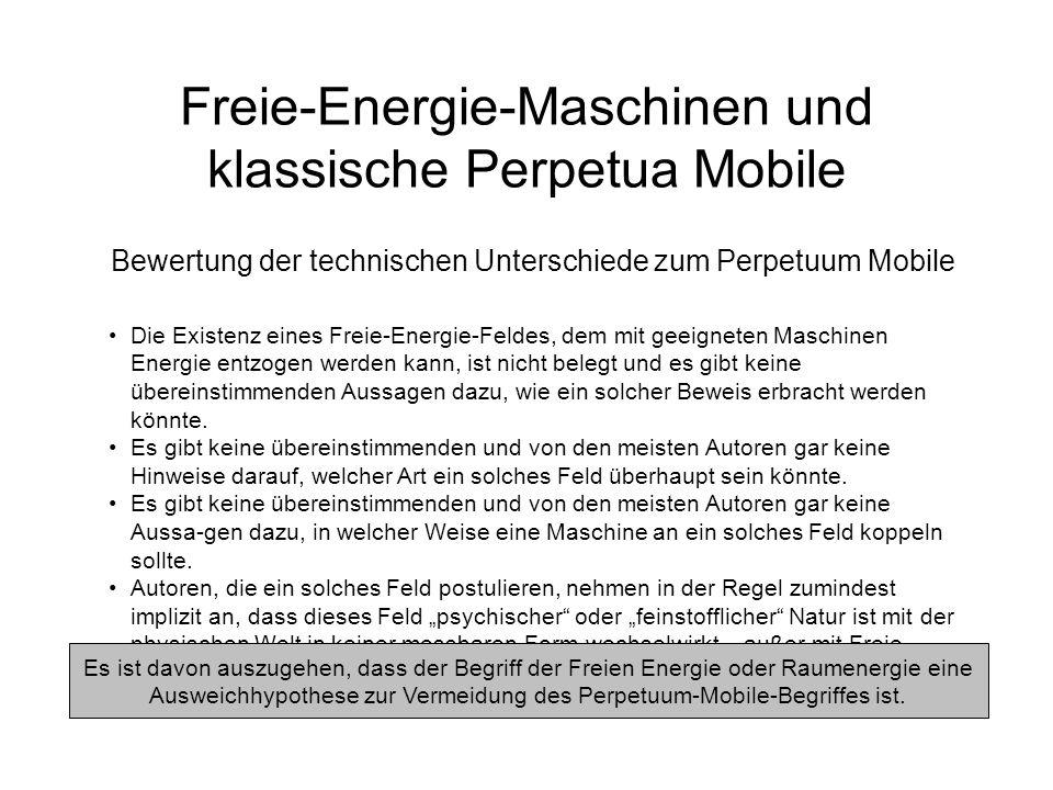 Freie-Energie-Maschinen und klassische Perpetua Mobile