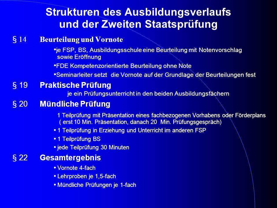 Strukturen des Ausbildungsverlaufs und der Zweiten Staatsprüfung