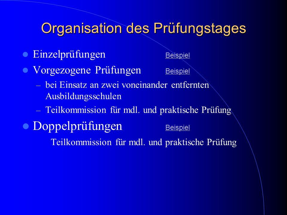 Organisation des Prüfungstages