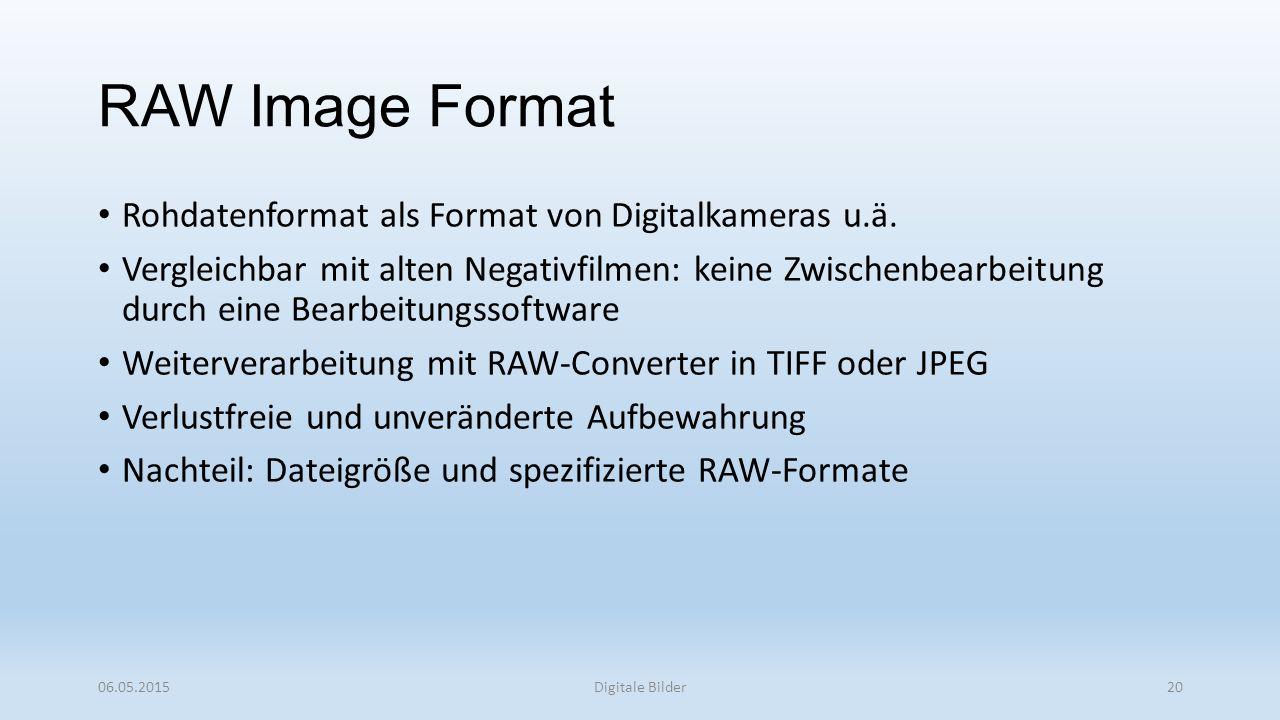 RAW Image Format Rohdatenformat als Format von Digitalkameras u.ä.