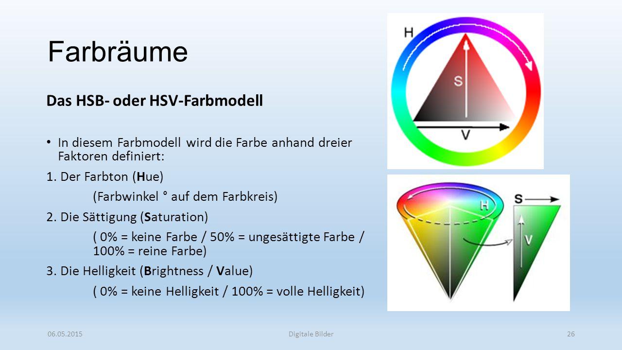 Farbräume Das HSB- oder HSV-Farbmodell