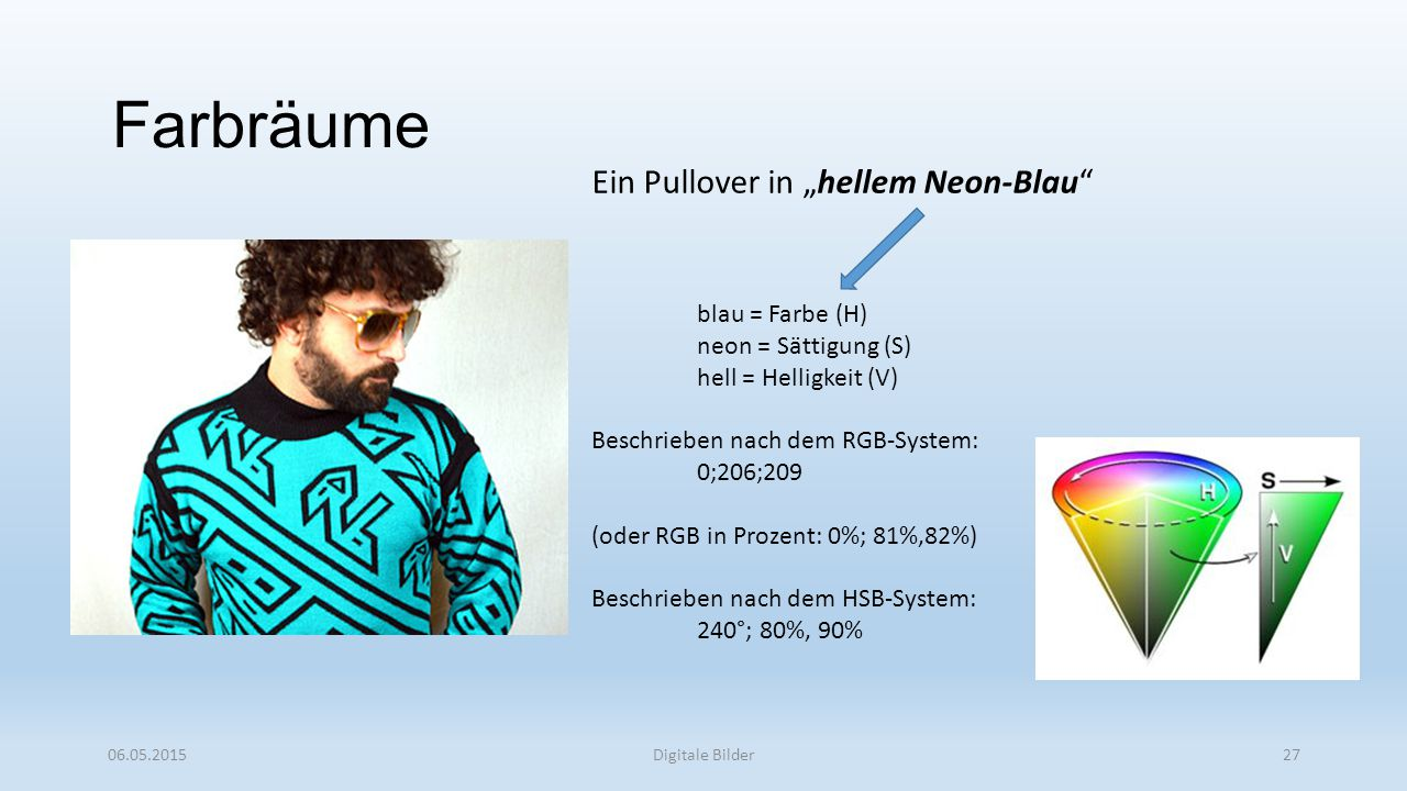 "Farbräume Ein Pullover in ""hellem Neon-Blau blau = Farbe (H)"