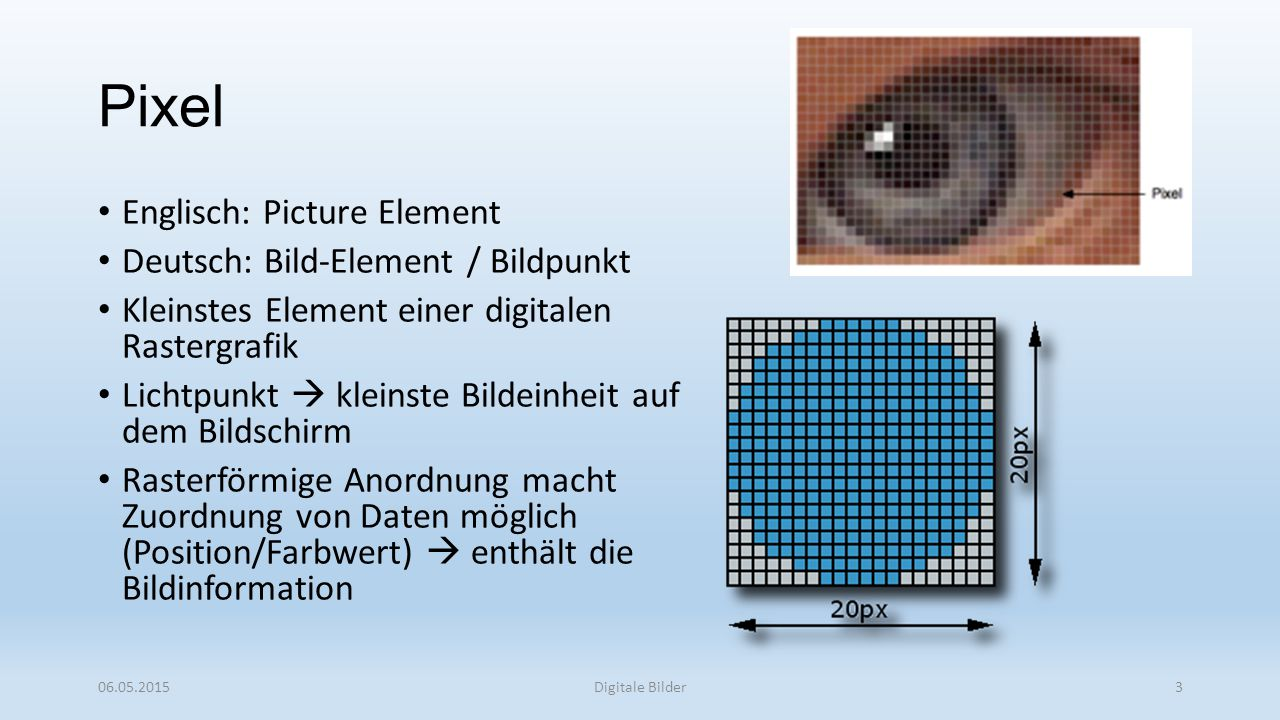 Pixel Englisch: Picture Element Deutsch: Bild-Element / Bildpunkt